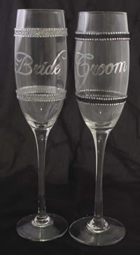 Bride & Groom Champaign Glasses with Bling